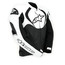 alpinestars jaws leather jacket black white thumb 2