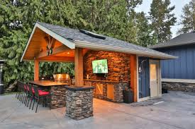 pool house bar. This Outdoor Kitchen And Attached Pool House Feature A Built In Gas Grill Bar Stool Seating Sunlights Stained Toungue Groove Ceiling More. -