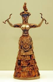 whether or not the maker or wearer of the bee pendant intended it to have a religious meaning this figurine known as the snake dess is more obviously