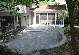 paver patio with deck.  Deck Round Deck Paver Patio And Low Maintenance Screen Room In Potomac MD Inside Patio With Deck D