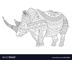 rhinoceros coloring book for s vector image