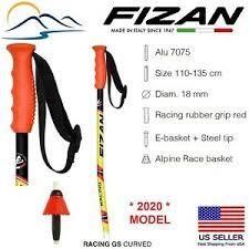 Details About 2020 Fizan Downhill Aluminum Ski Poles Curved Race Giant Slalom Gs Italian