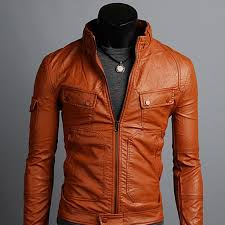 handmade men tan brown leather jacket flap on pocket with big front pocket