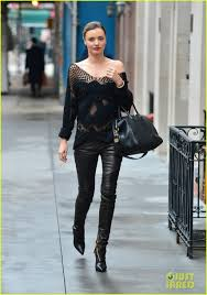 miranda kerr seen out in the streets of nyc on a revealing cloth on a cold