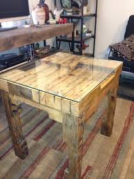 Wood Pallet Table Top Pallet End Table Glass Top Completed Projects Pinterest