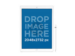 mini logo transparent background. ipad pro with apple pencil mockup in front view over a transparent background mini logo r