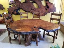 Redwood Live Edge Dining Table Moose Crossing Burl Gallery