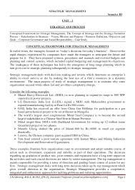 notes for mba strategic management unit i strategic management