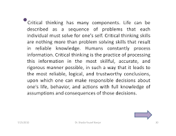 Essay About Critical Thinking Critical Thinking In Everyday Life Essay Coursework Sample