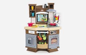built from durable plastic this toy kitchen comes equipped with 46 diffe accessories a small garden and a light up stove but the best aspect is this