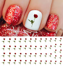Amazon.com: Red Roses Water Slide Nail Art Decals - Salon Quality ...
