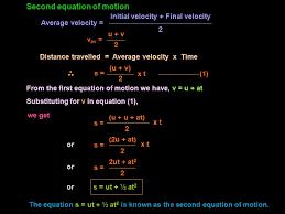 we get v av u v 2 or the equation s ut