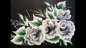Black Chart Paper One Stroke White Roses On Black Chart Paper Youtube In