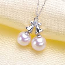 jingle bell design pendant chain settings for double pearls pendant necklace fittings s925 sterling silver components