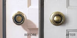 before after using paint stripper to remove old paint from a door knob