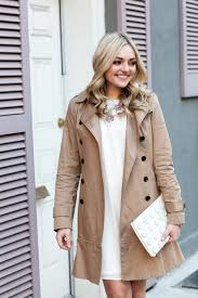 classic trench coat white dress spring outfit