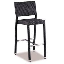 pu rattan weave bar stool in black