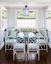 midwest living this wonderful breakfast nook features a blue white and green palette and chinese chippendale chairs
