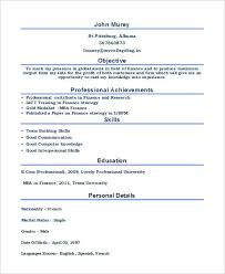 Mba Finance Fresher Resume Free Download Sample Resume For Mba