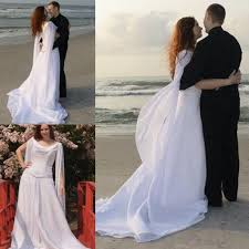 retro celtic wedding dresses with long sleeves angel wings flowing