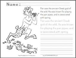 Small Picture Greek God of Spring Pan Coloring Page Student Handouts