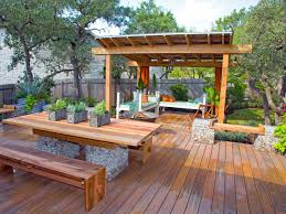 Wooden decks in modern patios