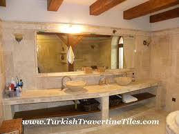 travertine pattern set tiles mosaics and sinks bathroom