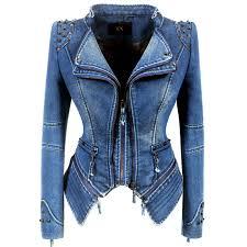 Womens Lapel Collar Zip Studded Shoulder Denim Jeans Blazer