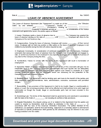 Fmla Form Classy Leave Of Absence Agreement Template Create A Free Leave Of Absence