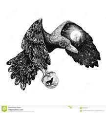 татуировка ворон с полнолунием на крыле иллюстрация штока