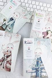 kawaii drawing paper note book miss rabbit random pattern 13cm x 18cm