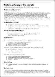 Catering Resume Sample Catering Manager Job Description Catering ...