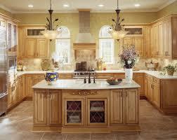 Interior Design Cozy Travertine Tile With Oak Kraftmaid Kitchen