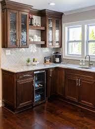 brown cabinets and granite countertops