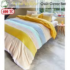 400tc cotton sateen kata yellow quilt duvet cover set queen king super king