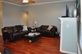 Our Living Room Paint Color SherwinWilliams Silvermist Living - Dining room paint colors dark wood trim