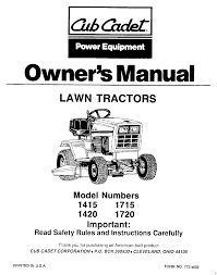 cub cadet lawn mower 1720 user guide manualsonline com Cub Cadet LT1050 Electrical Diagram at Wiring Diagram Cub Cadet 1415