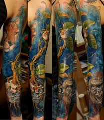 colorful tattoo sleeve designs. Interesting Designs 34fullsleevetattoo With Colorful Tattoo Sleeve Designs S