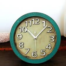 um image for awesome retro antique style 3d metal silver arabic numbers desk clock table clock