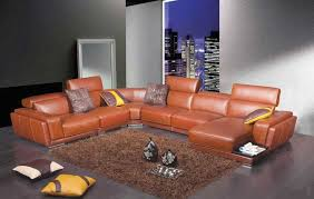 modern brown leather sectional sofa he 996