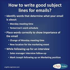 A Subject Line In An Email Is Very Important To Send Across A