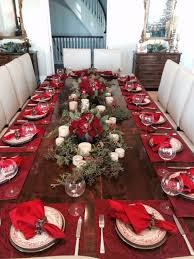 dining table decor in red and