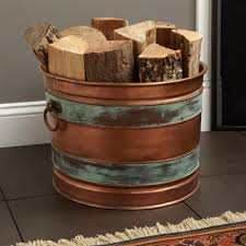 hampshire copper firewood holder antique copper patina