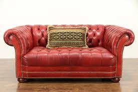 leather tufted vintage chesterfield sofa brass nailhead trim 31007 photo