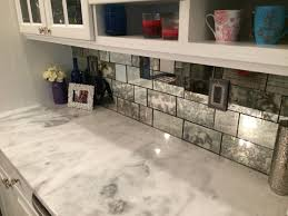 Mirror Tiles Decorating Ideas Classy Subway Mirror Backsplash Pattern With White Polished Kitchen 34