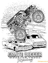 Small Picture Grave Digger Monster Truck Racing Coloring Page Free Coloring