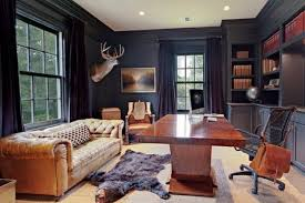 man cave office ideas. Men\u0027s Office Lounge With Dark Walls, Leather, And Bear Rug | 10 Man Cave Ideas U