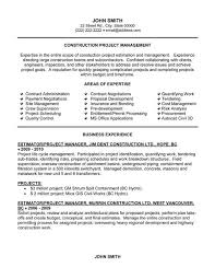 Construction Project Manager Resume Outathyme Com