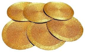 gold table mats round glass beads braided tabletop decor set of 6 paper placemats uk
