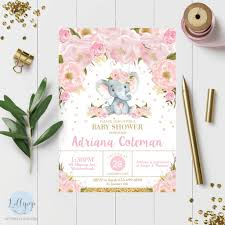 baby girl invite details about 8x elephant baby shower invitations pink blush floral flowers invites baby girl